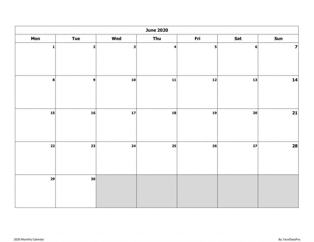 Download 2020 Monthly Calendar (Mon Start) Ink Saver Excel Free Fill In Calendars