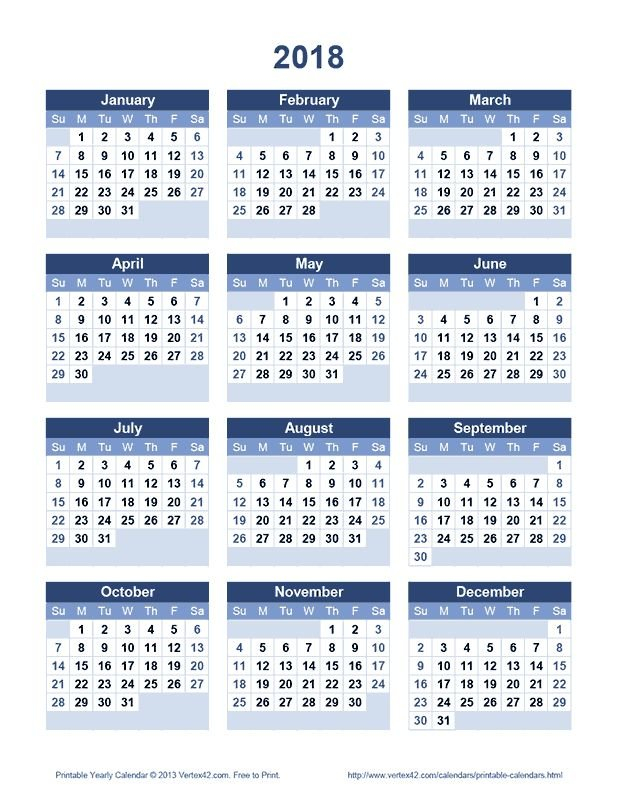 Download A Free Printable 2018 Yearly Calendar From Free 4 Year Calendar Printable