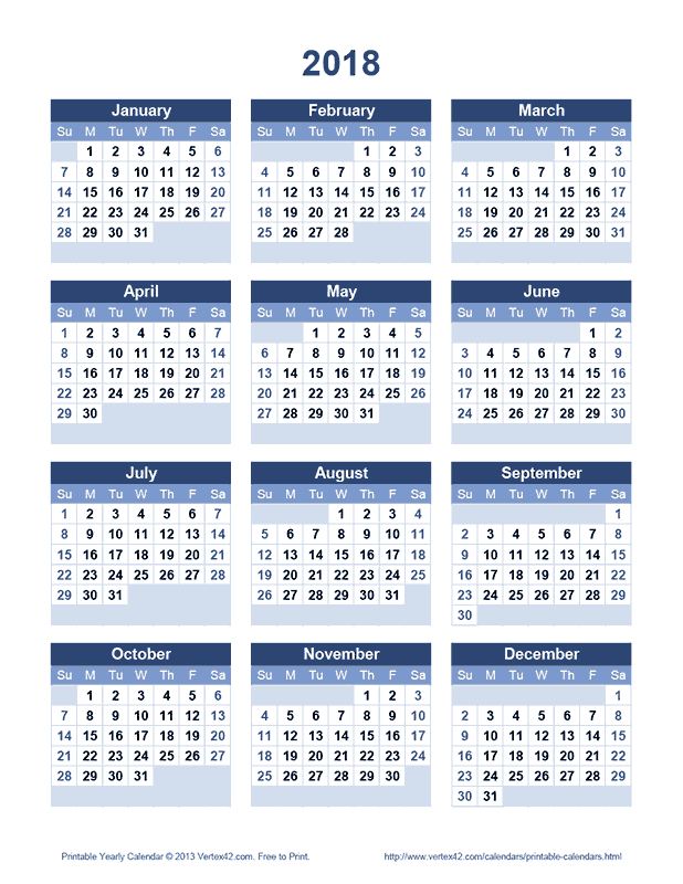 Download A Free Printable 2018 Yearly Calendar From Free Printable 5 Year Calendar