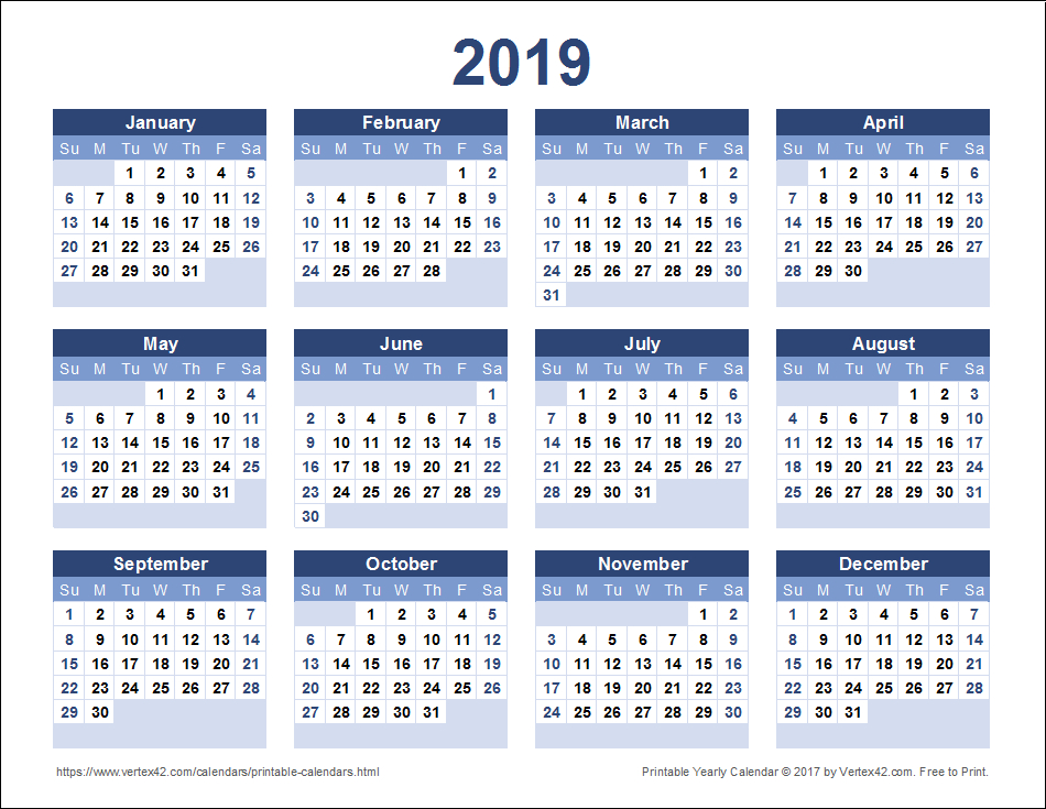Download A Free Printable 2019 Yearly Calendar From Print Free Calendars Without Downloading 2018