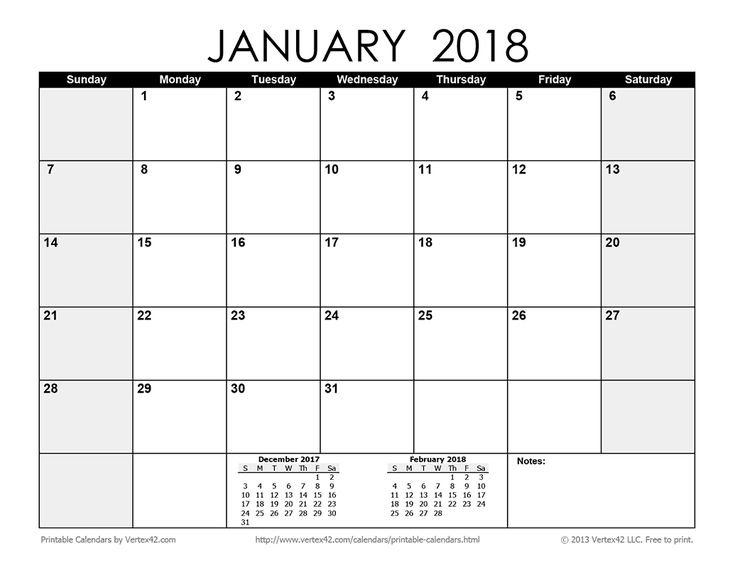 Download A Free Printable Monthly 2018 Calendar From Printable Full Size 8 X 11 Calander