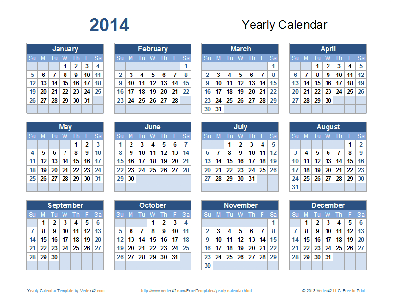 Download A Variety Of Free Yearly Calendar Templates That Free Calendar You Can Edit