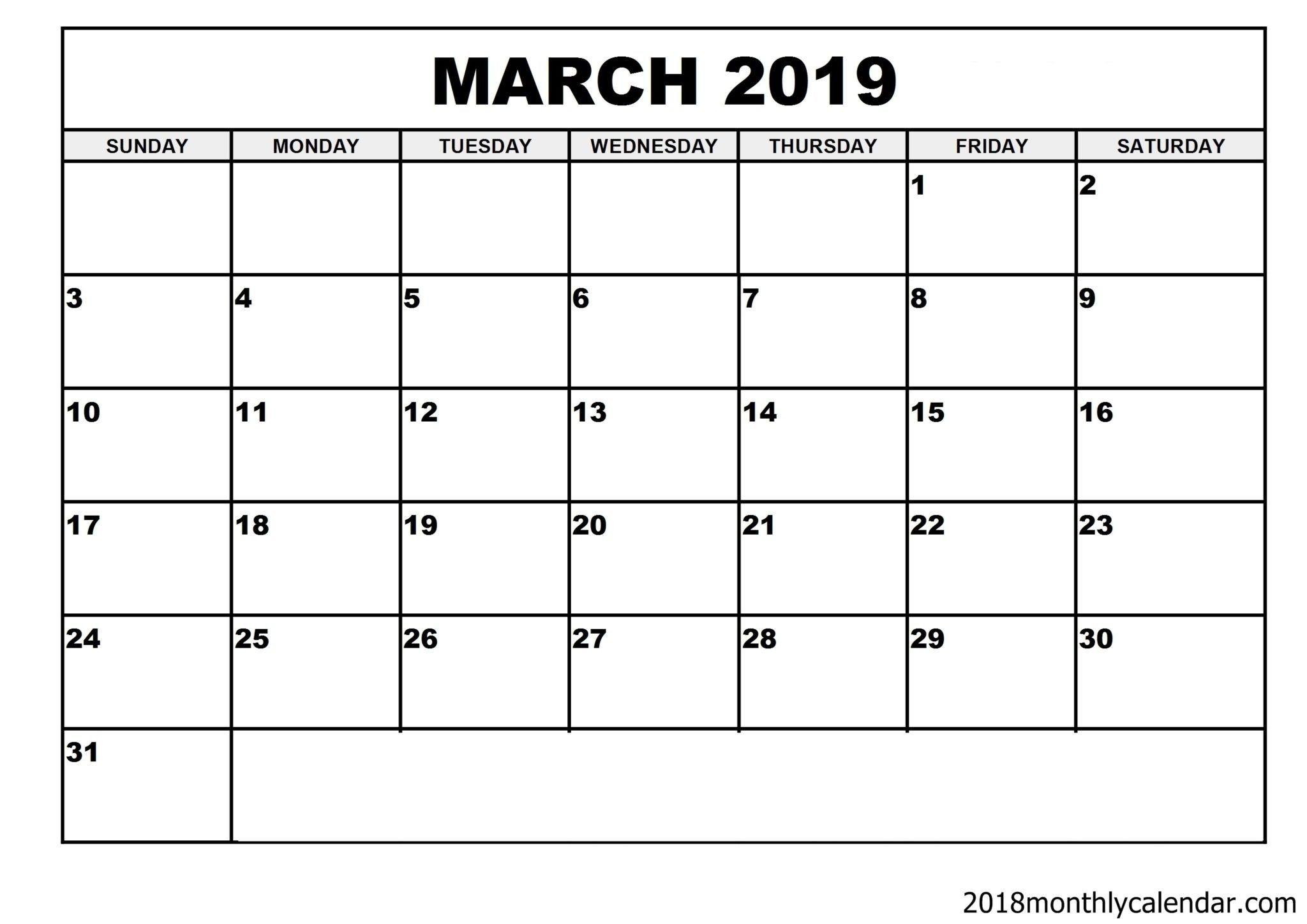 Download March 2019 Calendar – Blank Template – Editable Blank 31 Day Calendar Form