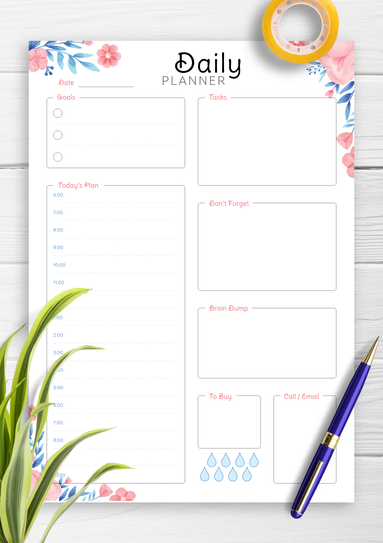 Download Printable Hourly Planner With Daily Tasks & Goals Pdf Printable Daily Hourly Schedule