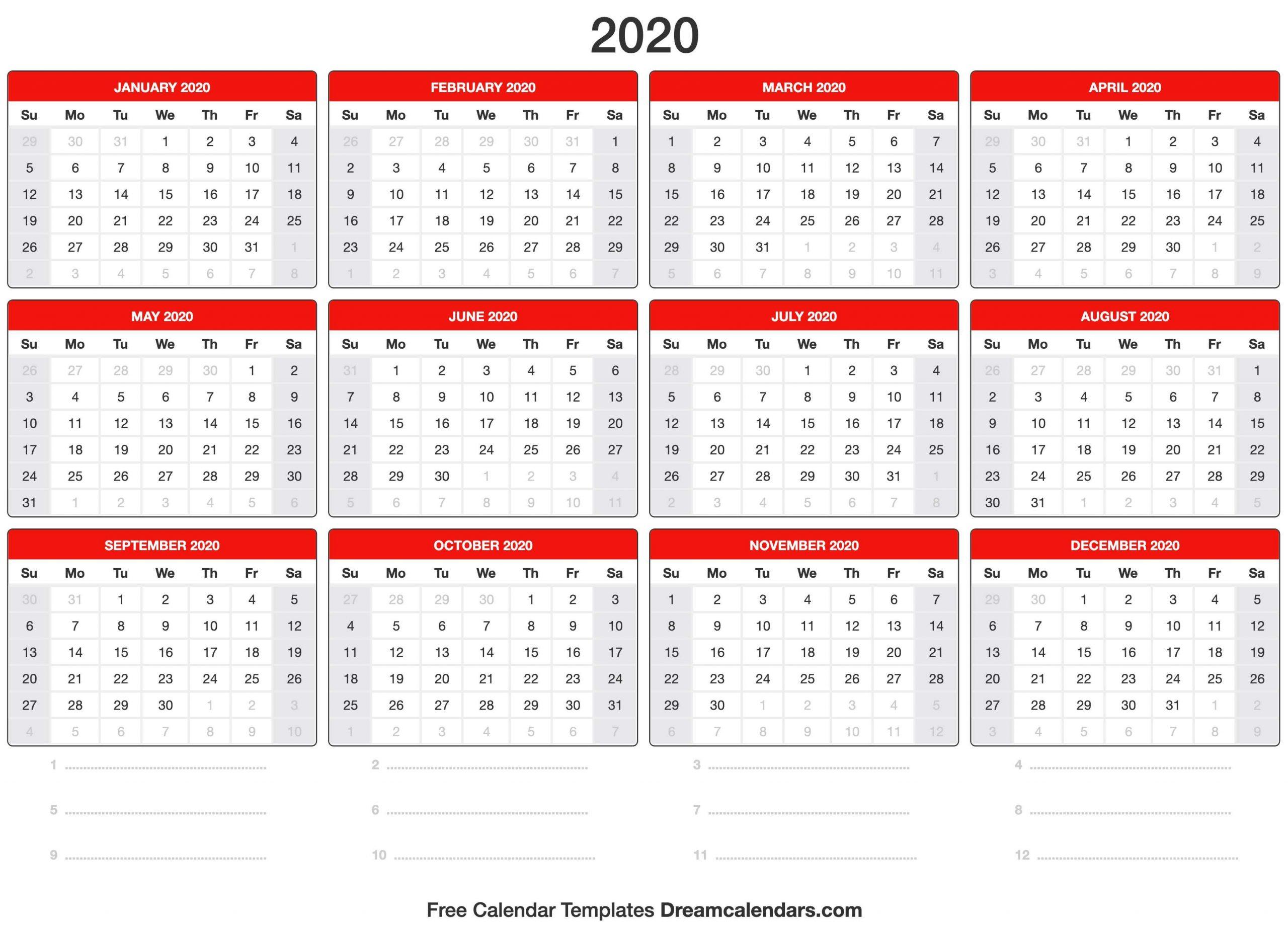 Dream Calendars – Make Your Calendar Template Blog Free 2020 Calendar With Days Counted 1 365