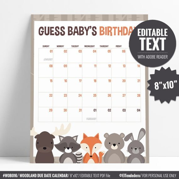 Due Date Calendar. Guess Baby Due Date Game. Baby Birthday Baby Date/Time Guessing Games Verbiage