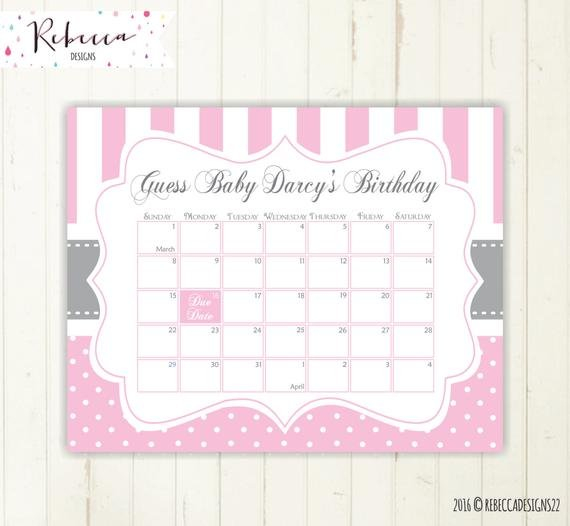 Due Date Calendar Pink Guess The Due Date Calendar Guess Due Date Guess Calendar
