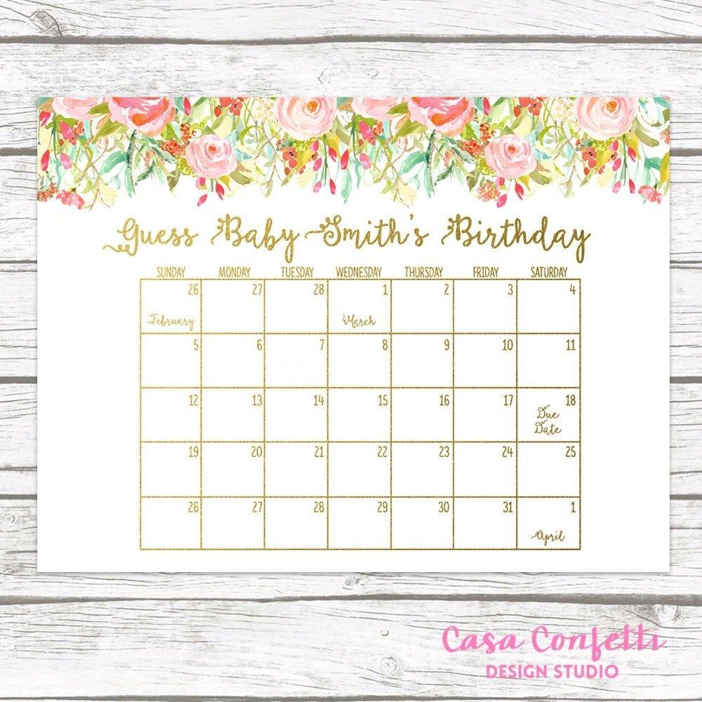 Due Date Calendar   Qualads Printable Due Date Guess