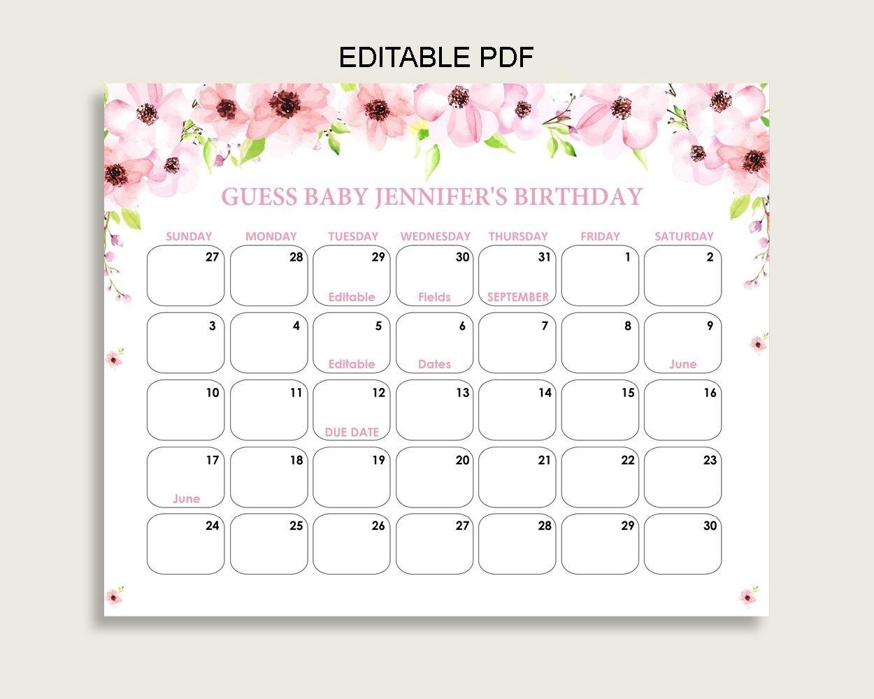 Due Date Prediction Calendar Printable | Calendar Template Due Date Guess Calendar