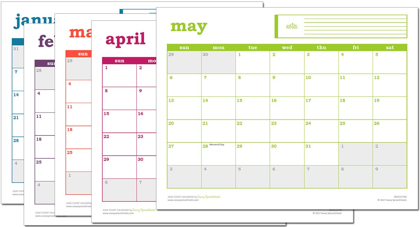 Easy Event Calendar – Excel Template   Excel Calendar Simple Weekly X5 Calendar Template