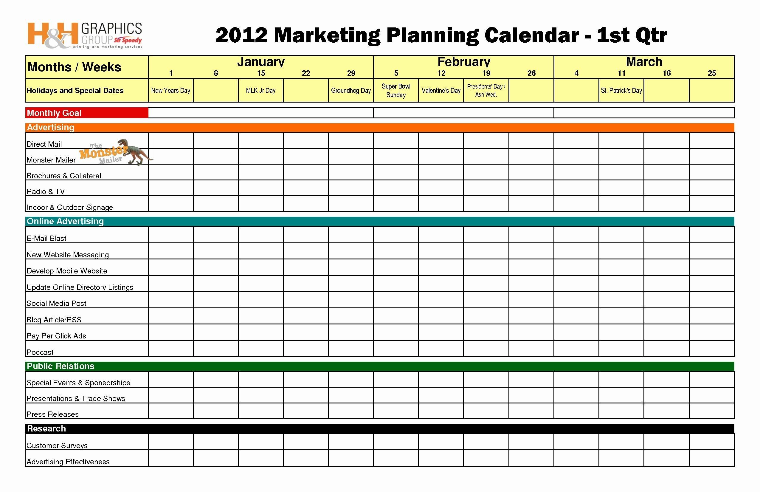 Ecommerce Marketing Plan Template Lovely Quarterly Newsletter Calendar Template Excel