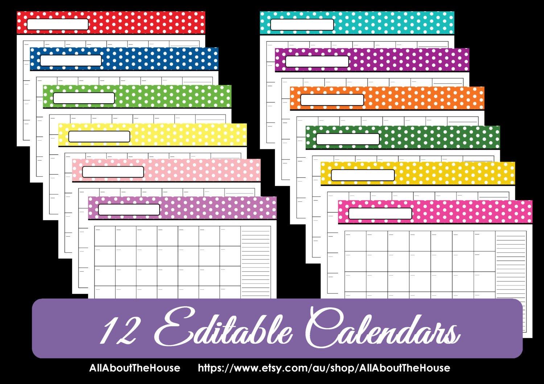 Editable 12 Polka Dot Calendars You Choose 2015 2016 And Calendars You Can Modify