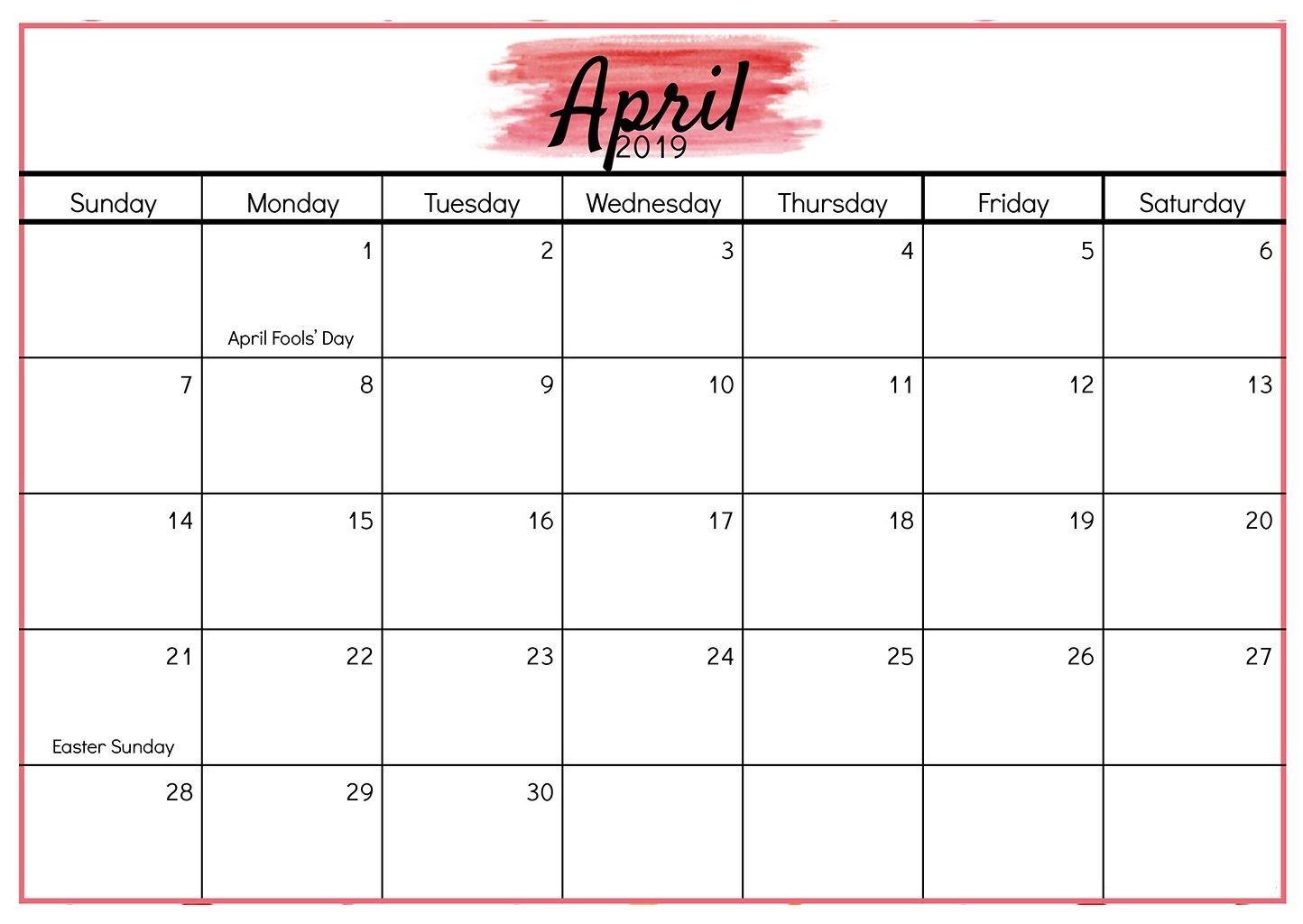 Editable April 2019 Word Calendar Templates | Calendar Calendar 2 Week Block Printable Free April