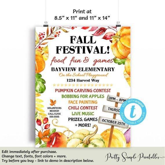 Editable Fall Festival Flyer, Fall Festival Flyer Template Tempalate For Baby Sweepstake