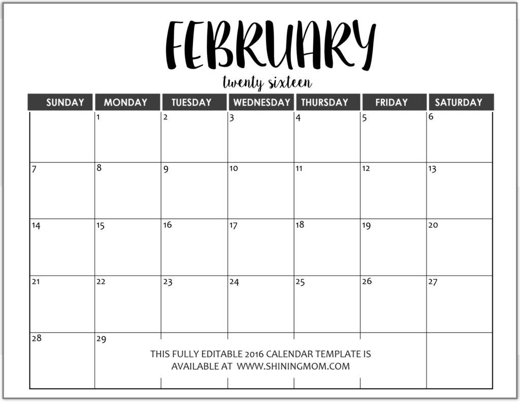 Editable Free Blank Monthly Calendar Template – Calendar Free Editable Monthly Calendar Teachers