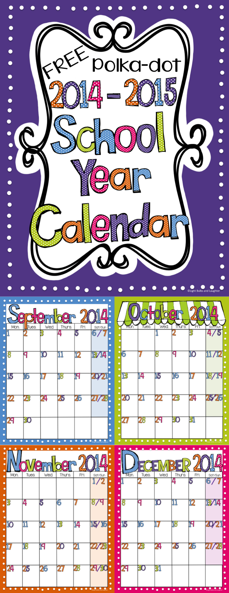 Editable Free Bright Polka Dot Monthly Calendars 2019 2020 Free Editable Calendars For School