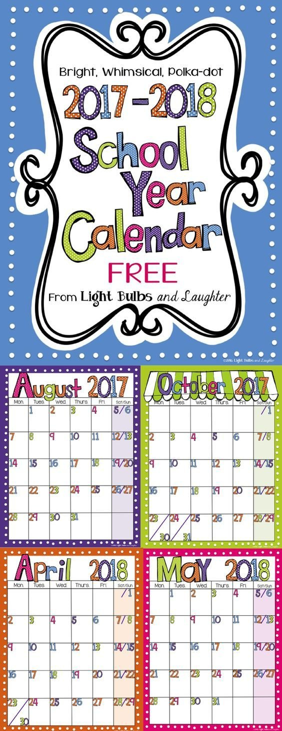 Editable Free Bright Polka Dot Monthly Calendars 2020 2021 Free Editable Calendars For School