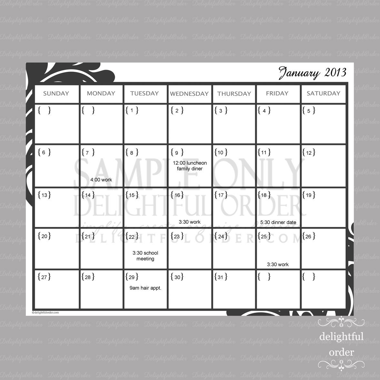 Editable Monthly Calendar 1 Pdf Printabledelightfulorder 1 Week Blank Calendar Printable