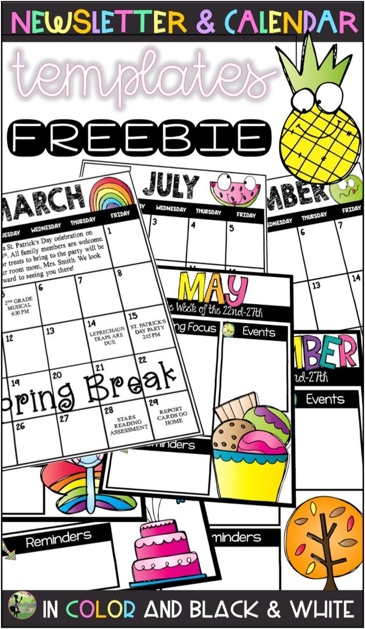 Editable Monthly Calendar & Weekly Newsletter Templates Free Monthly Calendar Template For Church Newsletter