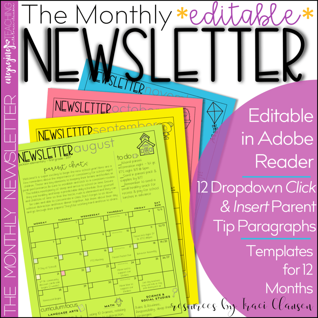 Editable Monthly Newsletter   Classroom Newsletter Free Monthly Calendar Template For Church Newsletter