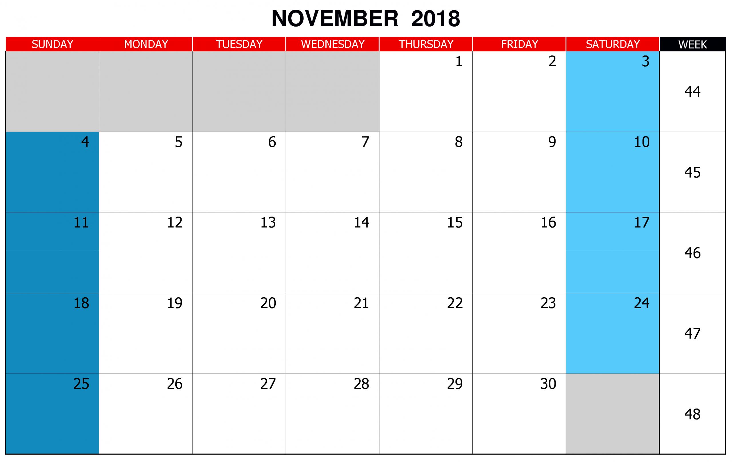 Editable November 2018 Calendar | 2019 Calendar, November Calendars You Can Edit Online