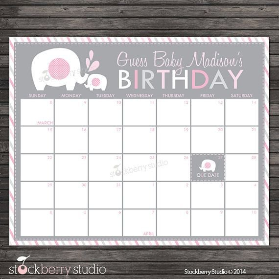 Elephant Guess The Due Date Calendar Printable Pink And Guess The Baby Due Date Elephant Calendar