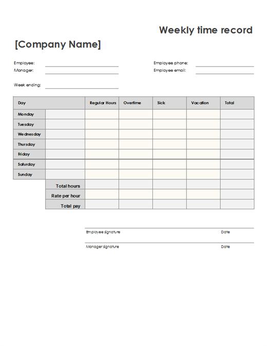 Employee Attendance Tracker 2 Week Time Sheet Printable