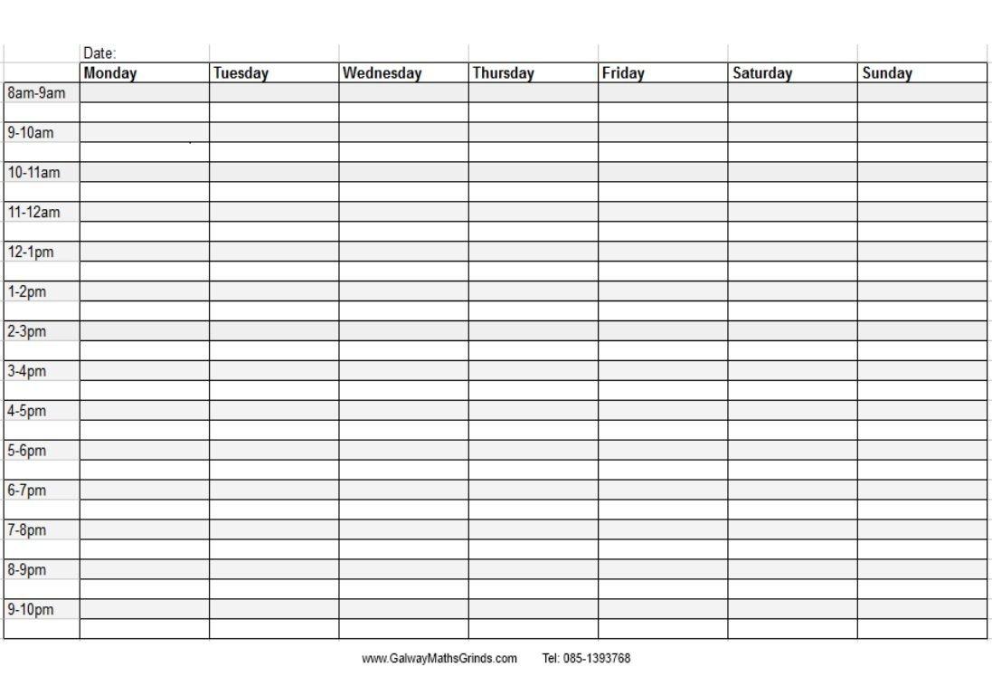 En Özgün Şiirler En Anlamlı Sözler Şiirceler: Timetable Blank Printabel Daily/Weekly Meeting Schedule