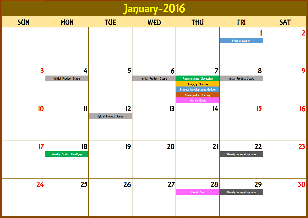 Event Calendar Maker Excel Template V3 – Support Sprint Days Calendar Excel