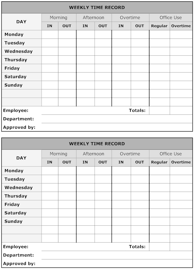 Example Image: Weekly Time Record   Sign In Sheet Template 2 Week Time Sheet Printable