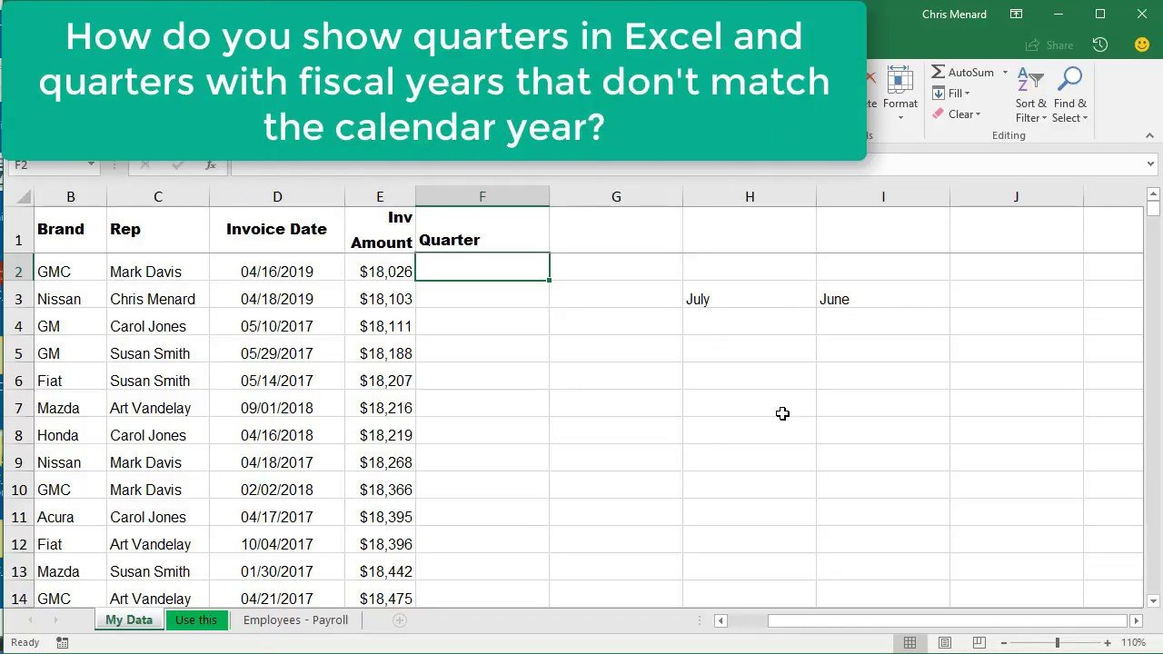 Excel Choose & Month Function For Quarters Where Fiscal Excel 5 Year Calendar