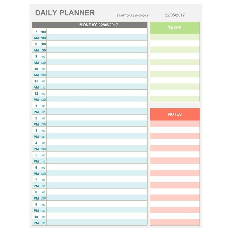 Excel Daily Hourly Planner Printable & Editable. Daily   Etsy Daily Calendar By Hour Free