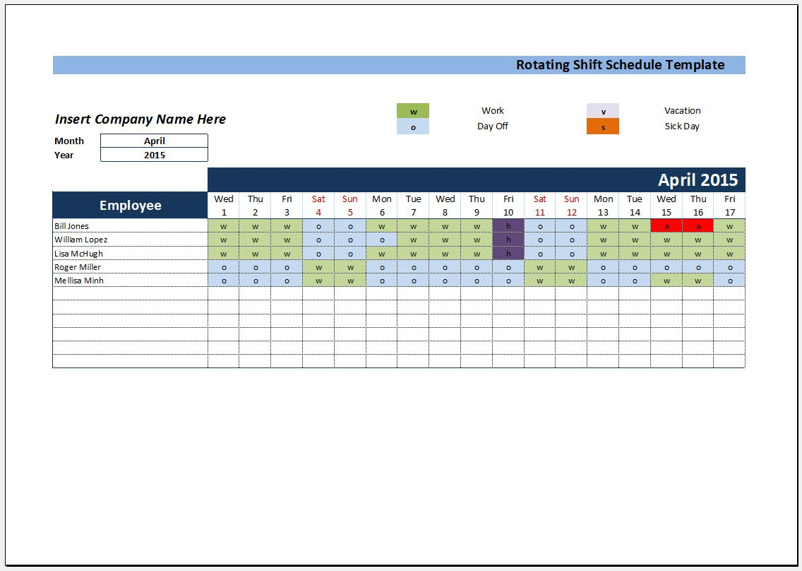 Excel Templates: Rotating Shift Schedule Template Excel On Call Rotation Calendar