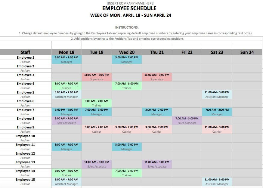 Excel Weekly Schedule Template Proper Weekly Employee Editable Two Week Employee Schedule