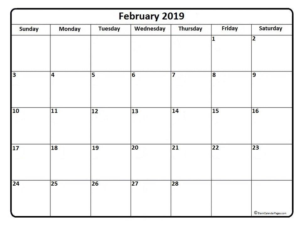 February 2019 Calendar | 51+ Calendar Templates Of 2019 Print Free Calendars Without Downloading 2018