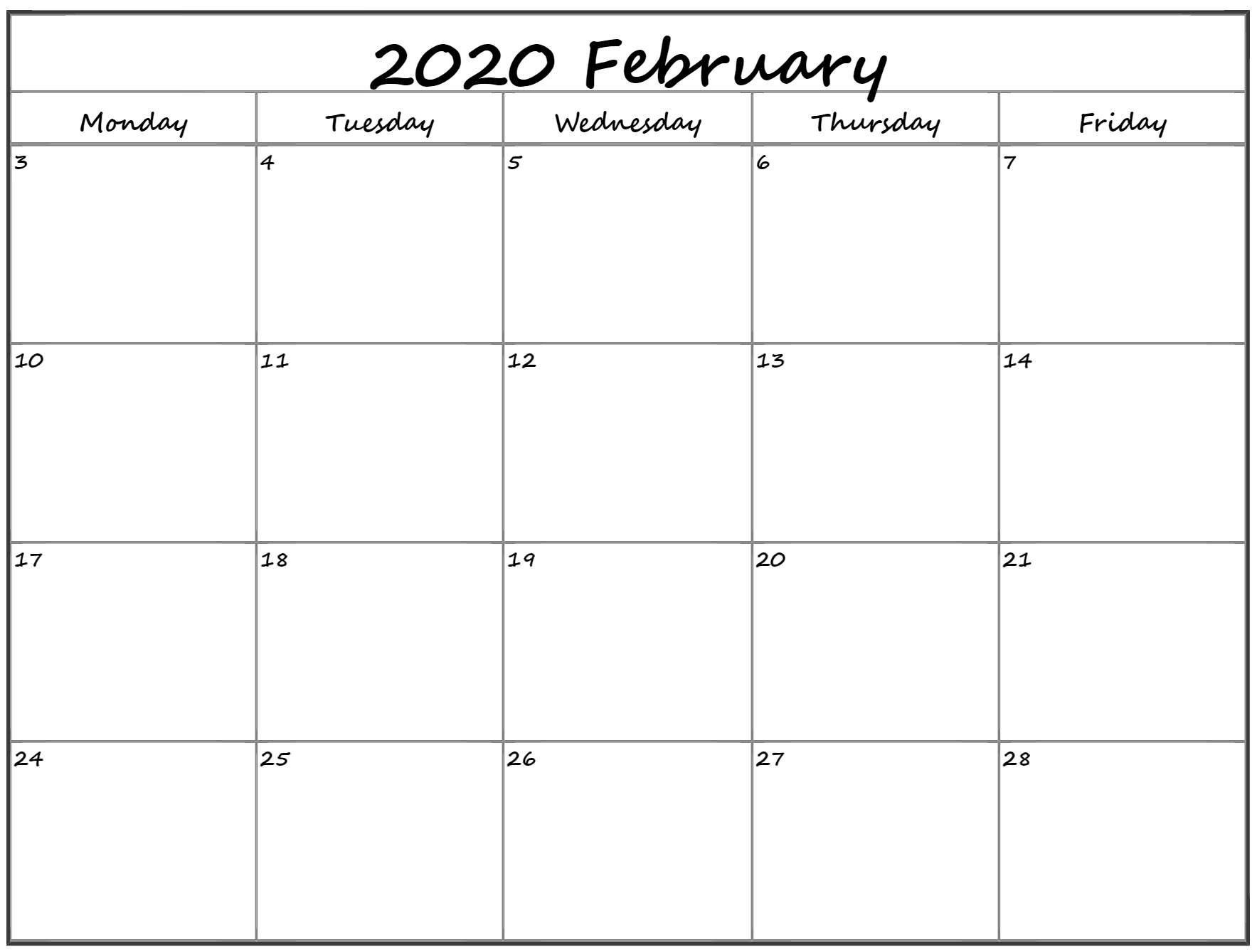 February 2020 Monday Calendar   Monday To Sunday Free Printable Calendar Monday To Friday