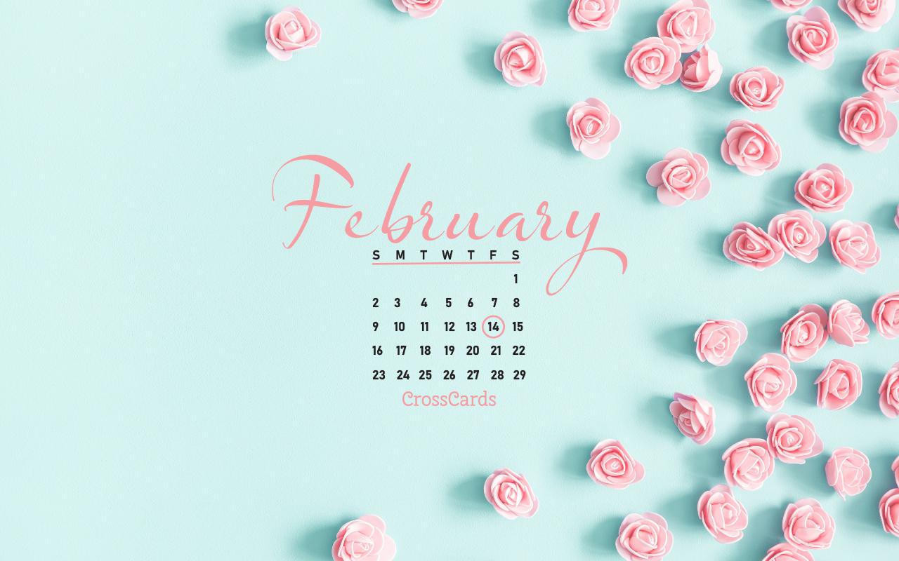 February 2020 – Valentines Flowers Desktop Calendar  Free Download Crosscards Monthly Calendar For Computer Background