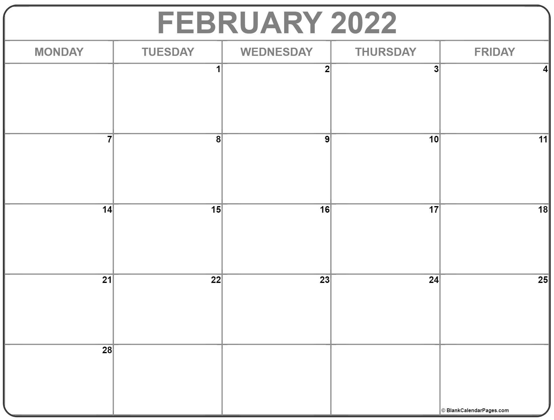 February 2022 Monday Calendar   Monday To Sunday Monday Through Friday Printable