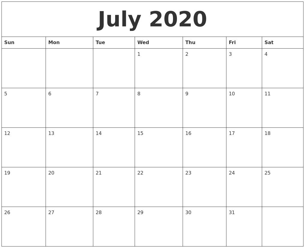 Fill In Monthly Calendar 2020   Calendar Template Printable Fill In A Calendar