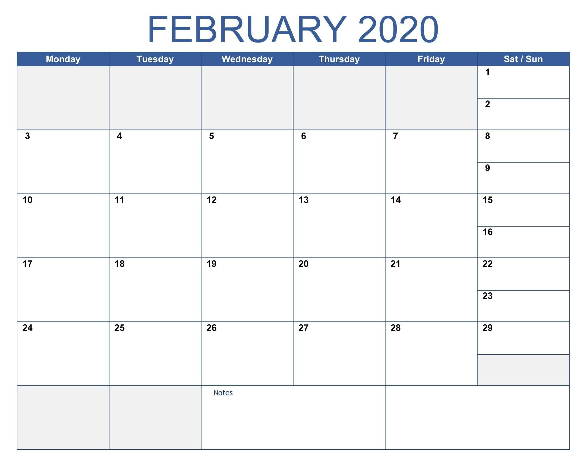 Fillable Blank February Calendar 2020 Printable Editable Fillable Blank Calendar Template