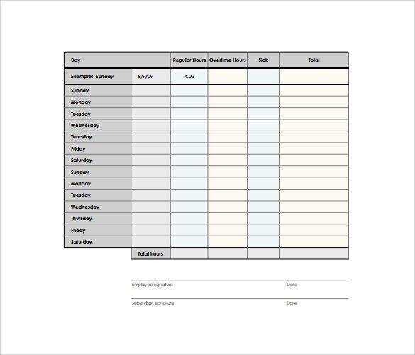 Free 10+ Biweekly Timesheet Templates In Google Docs 2 Week Time Sheet Printable