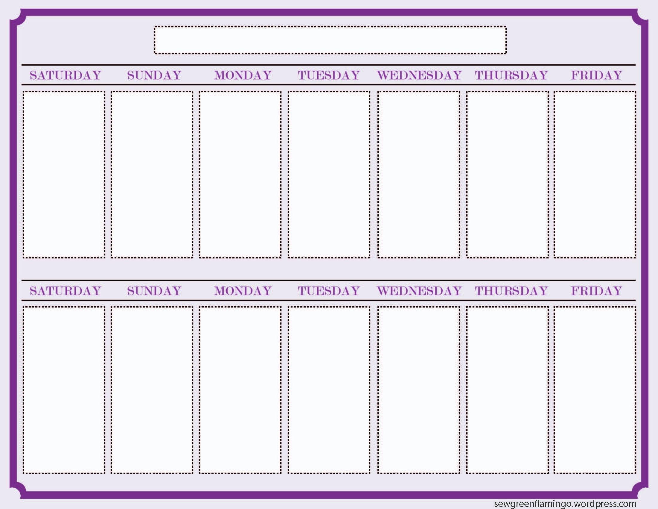 Free 2 Week Blank Printable Calendar Calendar 2018 Design Two Week Food Calendar