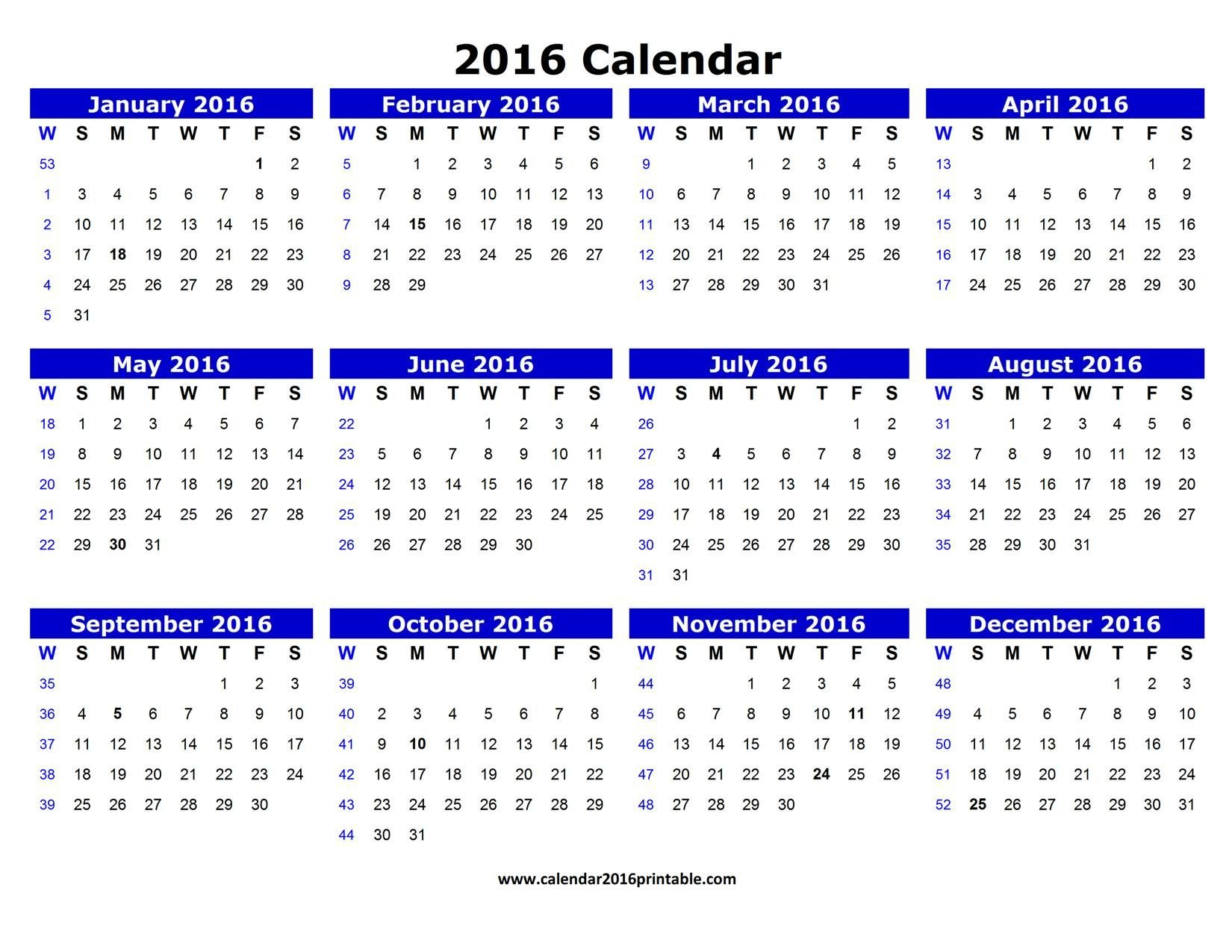Free 2016 Calendar Pdf That You Can Download, Customize Printable Calendar You Can Edit