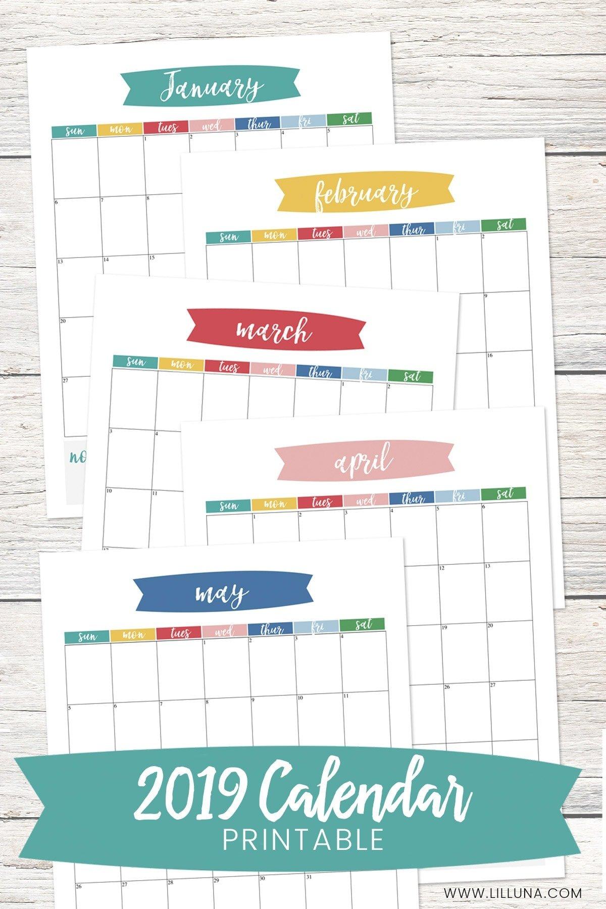 Free 2019 Calendar Printable + Blank Calendar | Lil' Luna Calendars That You Can Fill In
