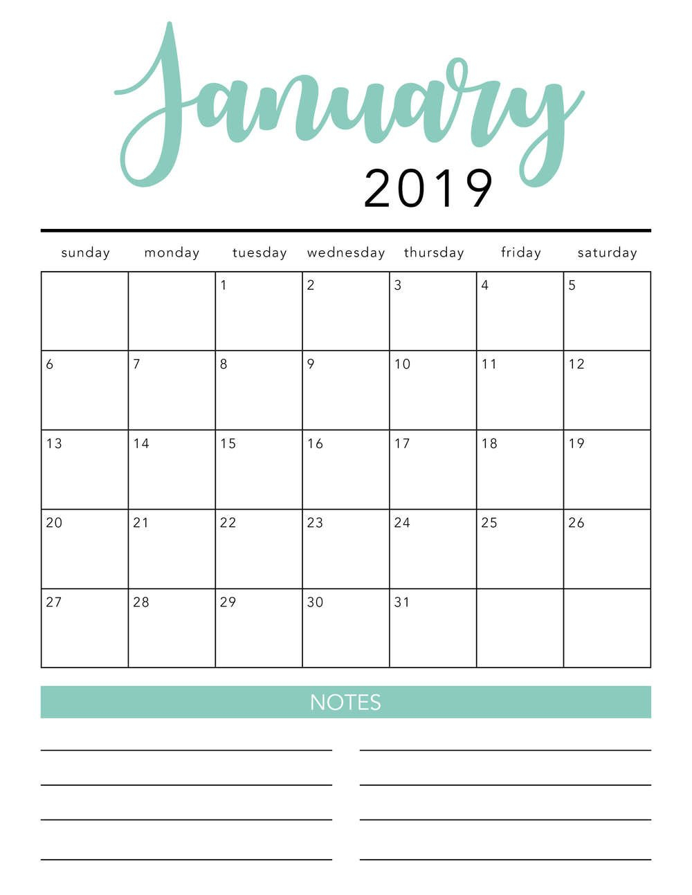 Free 2019 Printable Calendar Template (2 Colors!) – I Print Free Calendars Without Downloading 2018