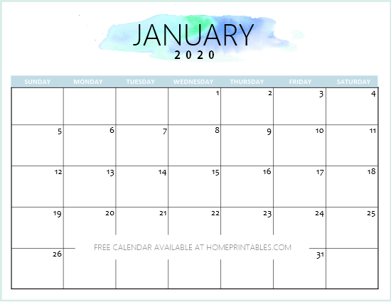 Free 2020 Calendar Printable: Simple And Very Pretty Simple Weekly X5 Calendar Template