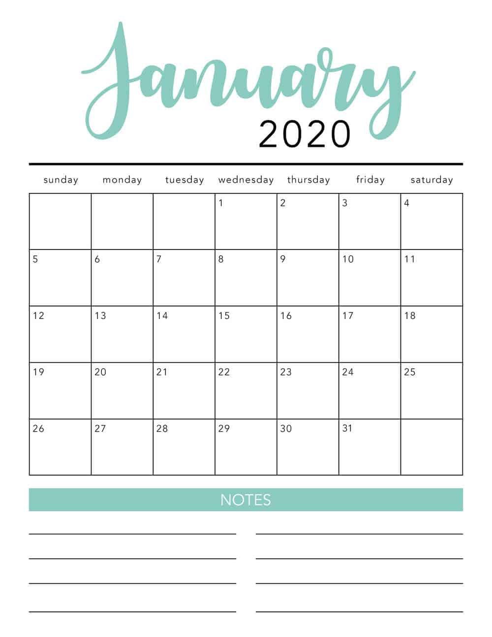 Free 2020 Printable Calendar Template (2 Colors!) – I 12 Month Editable Calendar