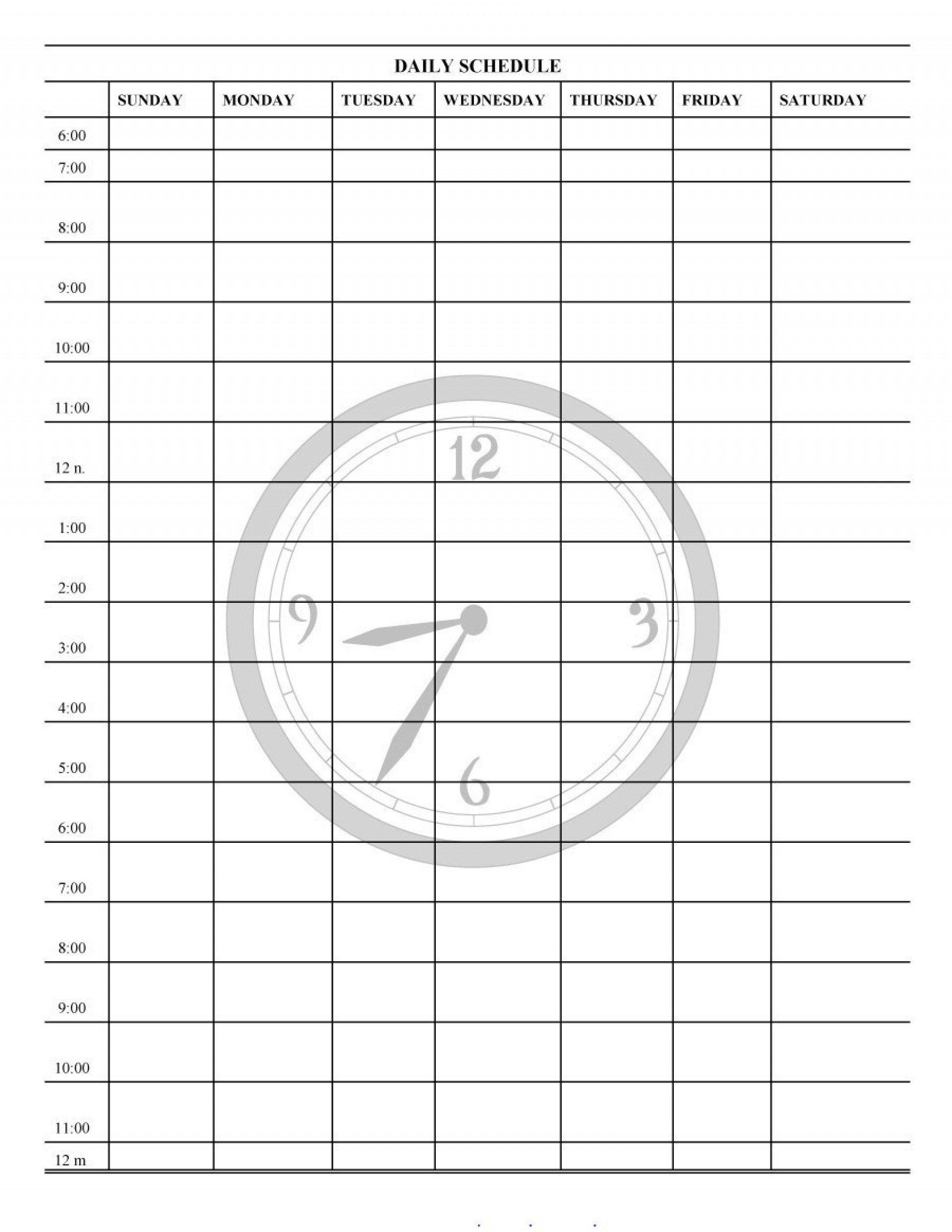 Free 24 Hour Daily Calendar Template   Daily Calendar Daily Calendar With Hour
