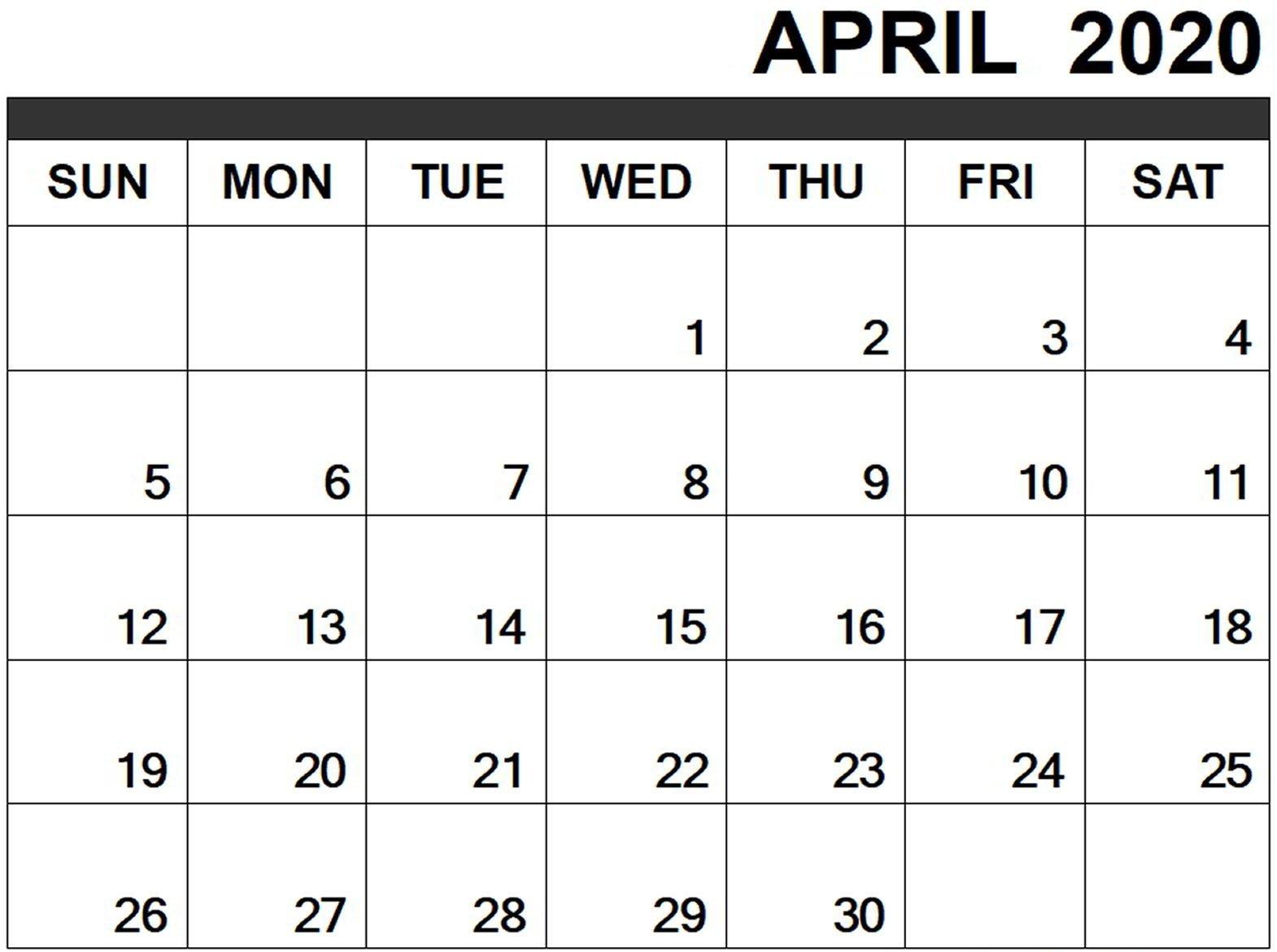 Free April Calendar 2020 Free Printable Template Pdf Word April Birthday Templates Filable