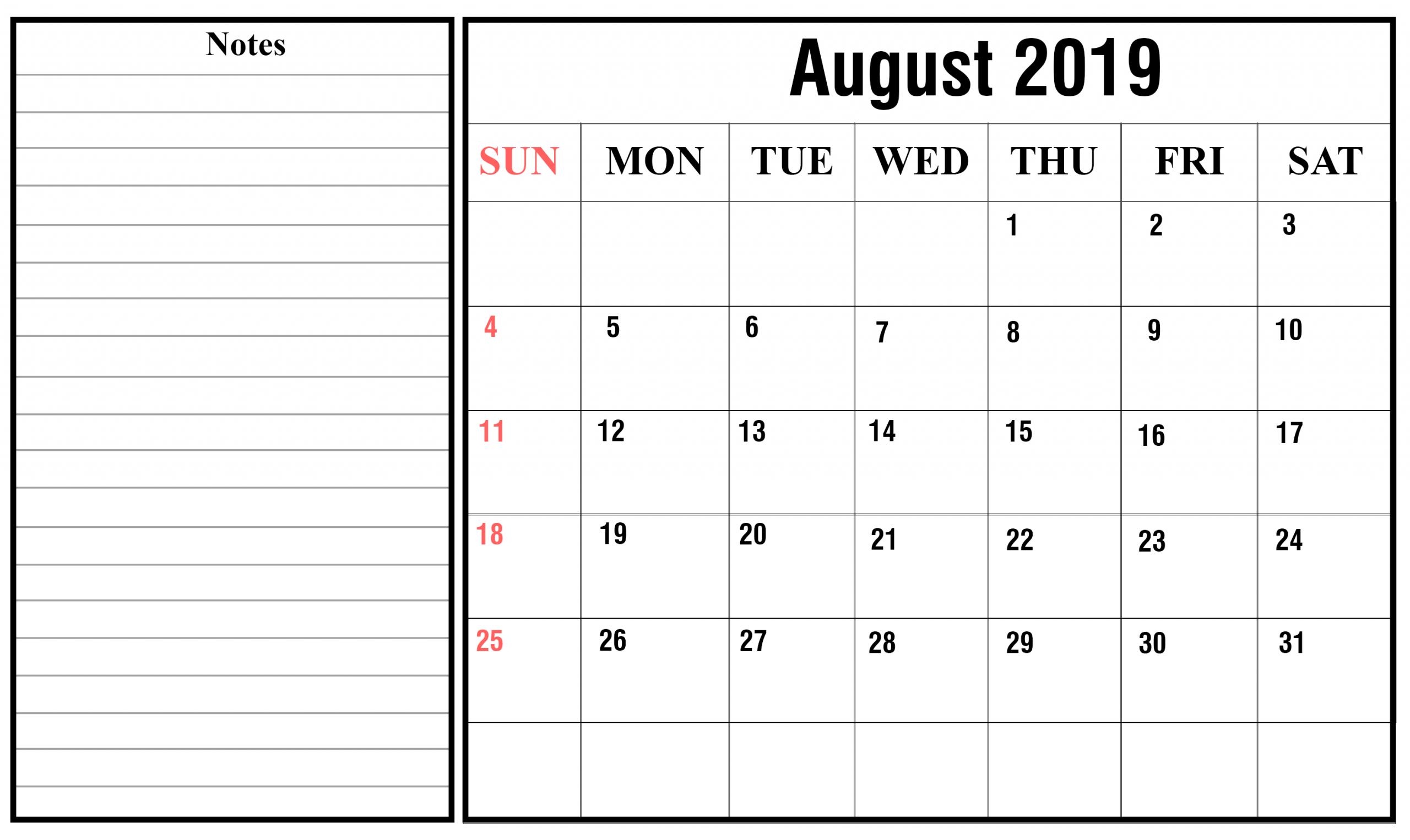 Free August 2019 Calendar Printable {Pdf, Excel, Word April Calendar That Can Be Edit
